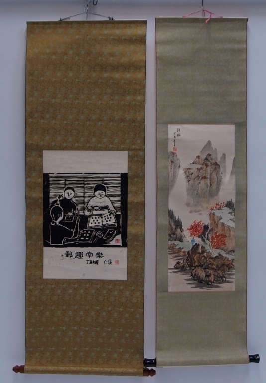 2 Asian Landscape and Ancestral Scrolls