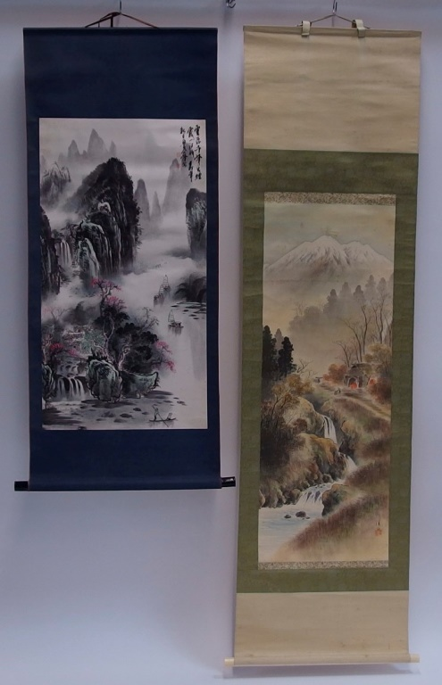 2 Asian Chinese Landscape Scrolls