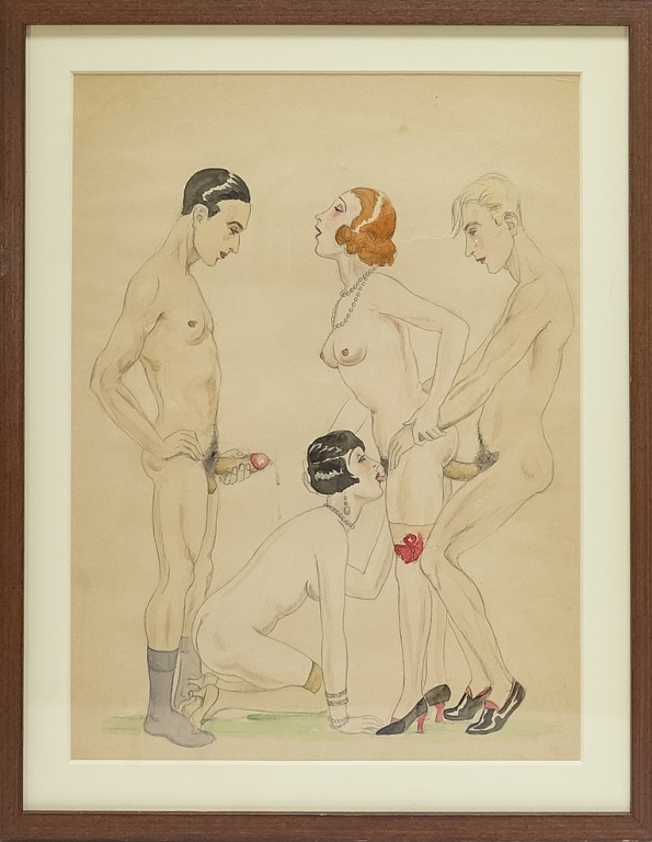 C.1925 Erotic Watercolor of a French Quartet