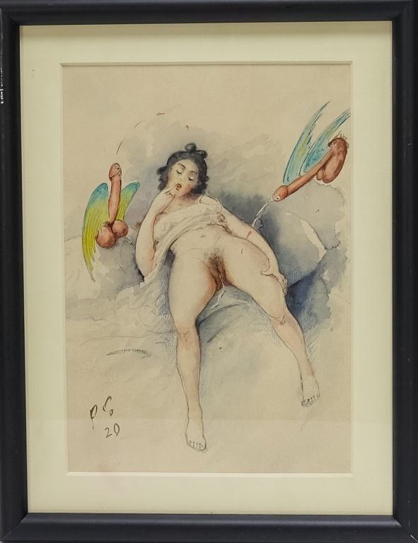 Attrib. Eysel Erotic Watercolor of Laying Woman