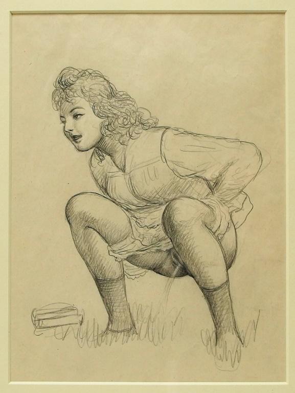 Fameni Leporini Erotic Drawing of Squatting Woman