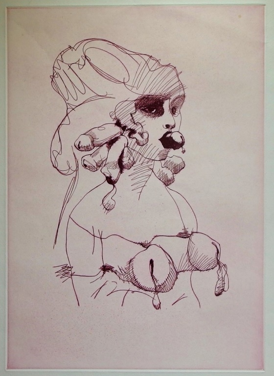 Claes Oldenburg Erotic Fantasy Bust Color Etching