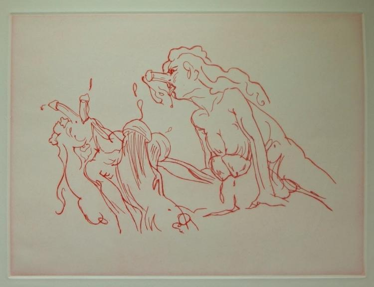 Claes Oldenburg Erotic Fantasy Colored Etching