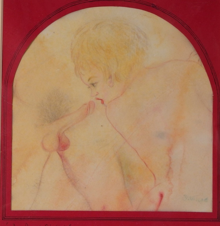 David Wilde Erotic Mixed Media Watercolor Painting