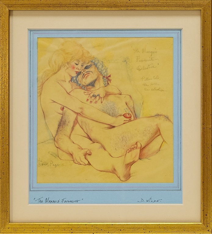 David Wilde Erotic Couple Watercolor Painting
