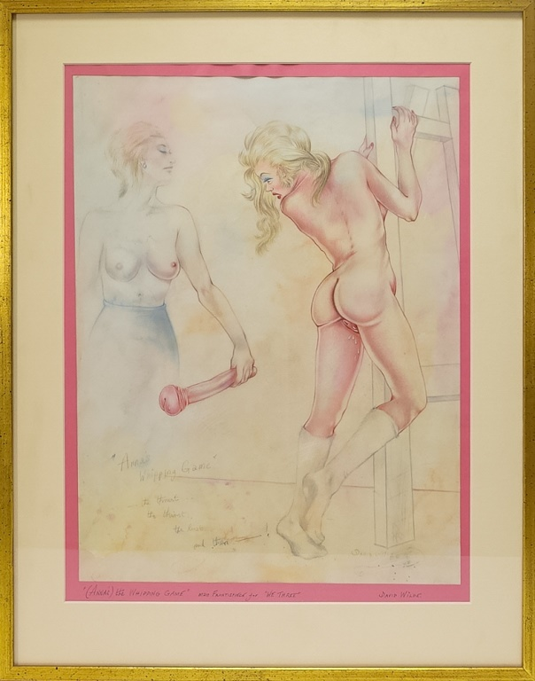 David Wilde Erotic Whipping Game W/C Painting