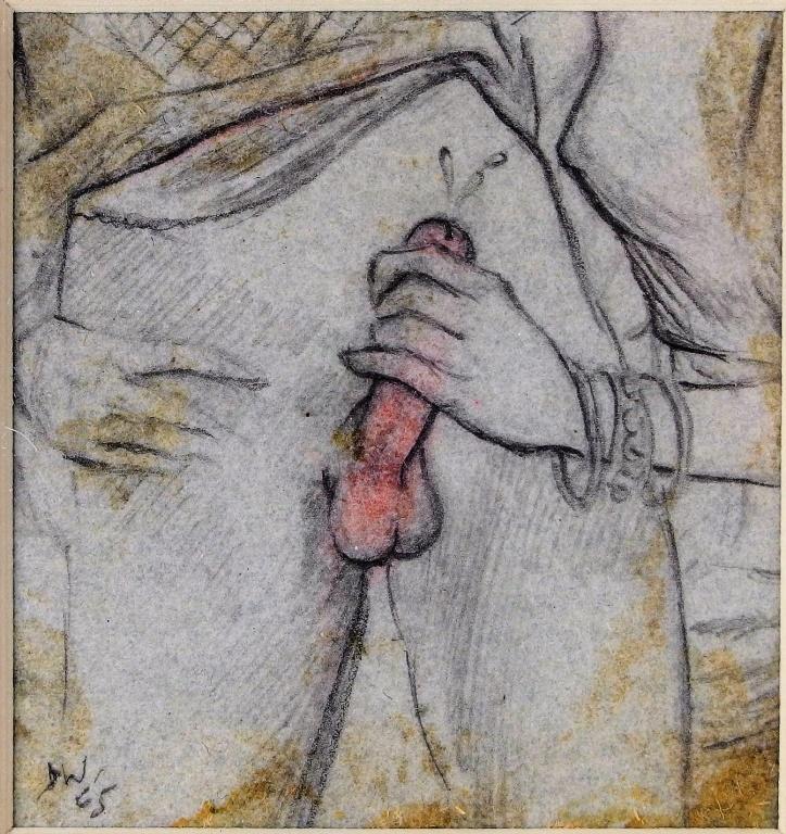 David Wilde Erotic We Three Watercolor Painting