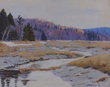 John Haapanen Autumn River Landscape Painting