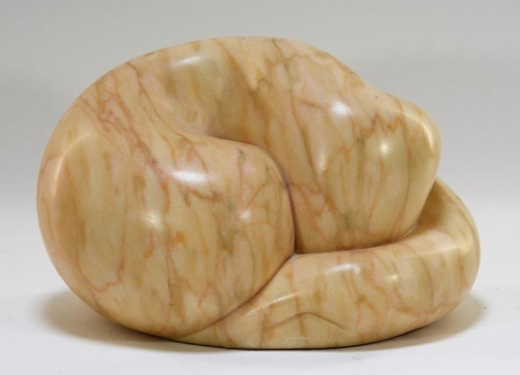 Richard Graham Biomorphic Marble Sculpture of Cat