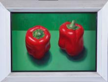 James Aponovich Red Peppers Still Life Painting