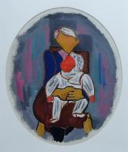 Ilya Bolotowsky Abstract Mother and Child Painting