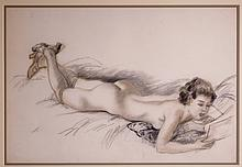 Emil Ganso Drawing of Recumbent Nude Reading