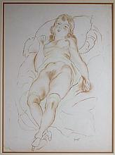 Emil Ganso Crayon Drawing of Reclining Nude