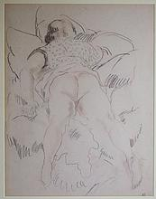 Emil Ganso Pencil Drawing of Nude in Repose