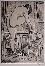 Emil Ganso Aquatint Etching of Nude Bather
