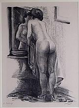 Emil Ganso Make-Up Lithograph of Nude Woman