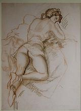 Emil Ganso Chalk Drawing of Nude in Repose