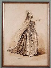 Paul Gavarni Pen Ink Drawing of Marguerite Georges