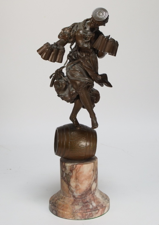 Eugene Barillot Bronze Drindl Girl Sculpture