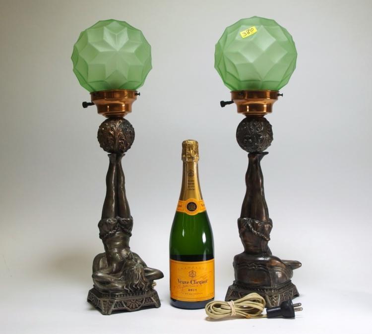 Sold Price: Pr Art Deco Female Nude Art Glass Shade Lamps