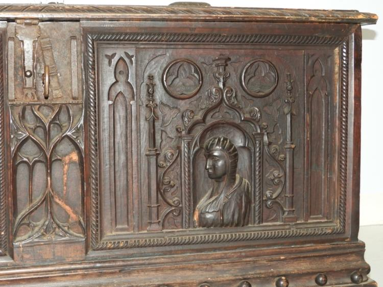C italian renaissance carved wood blanket chest