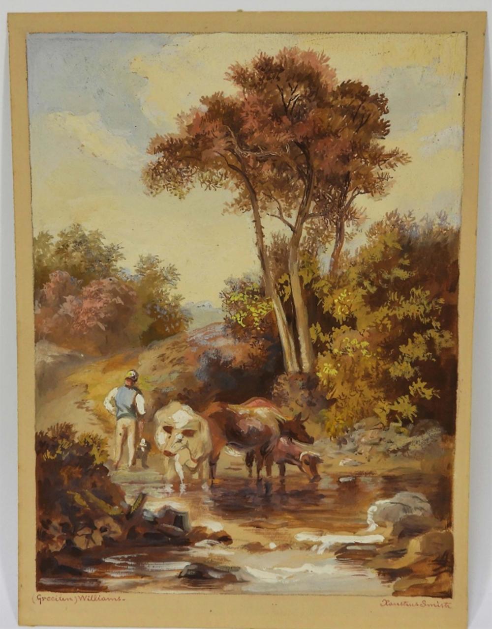 19C American School Pastoral Watercolor Painting