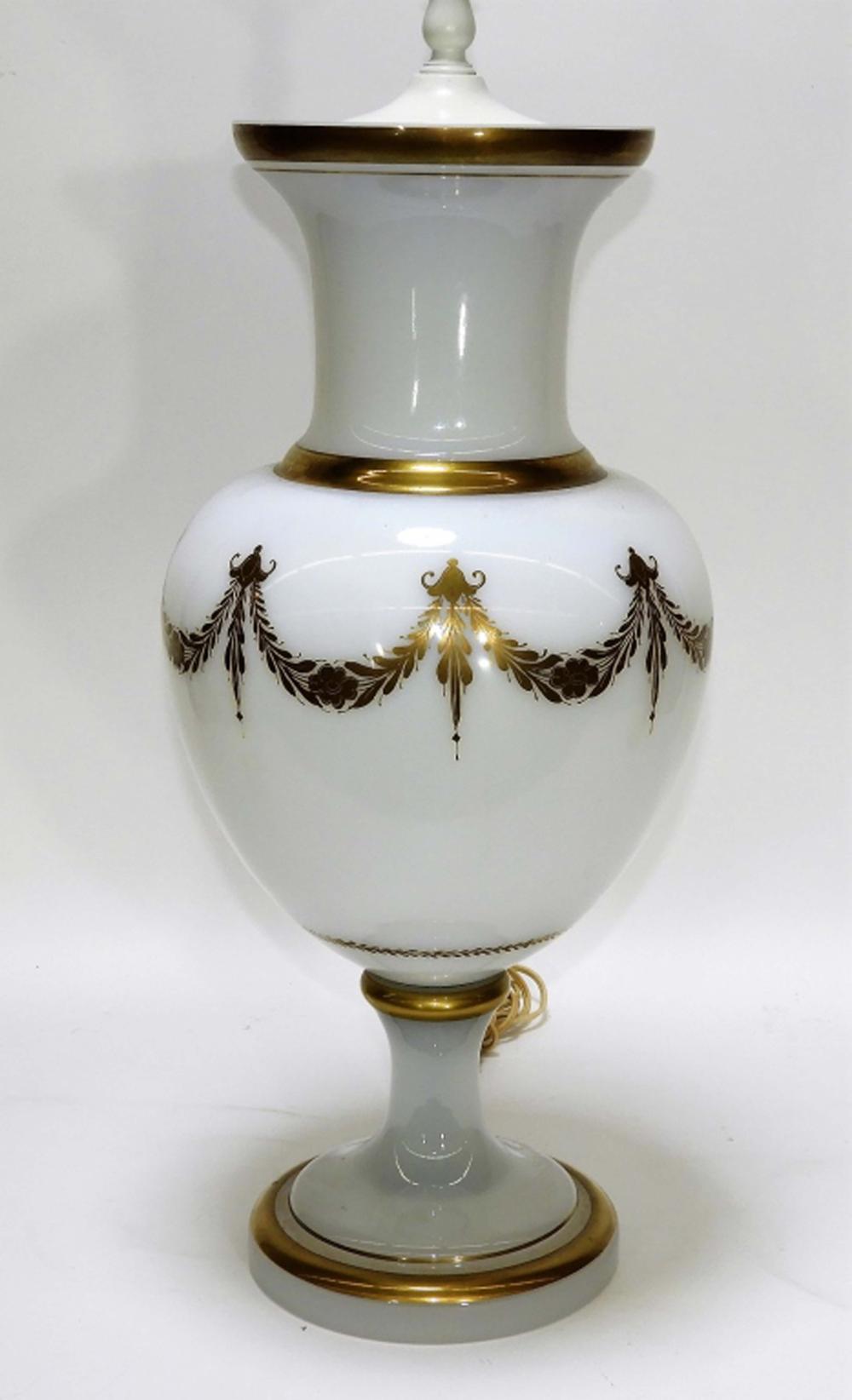 LG Italian Murano Opaline Glass Neoclassical Lamp
