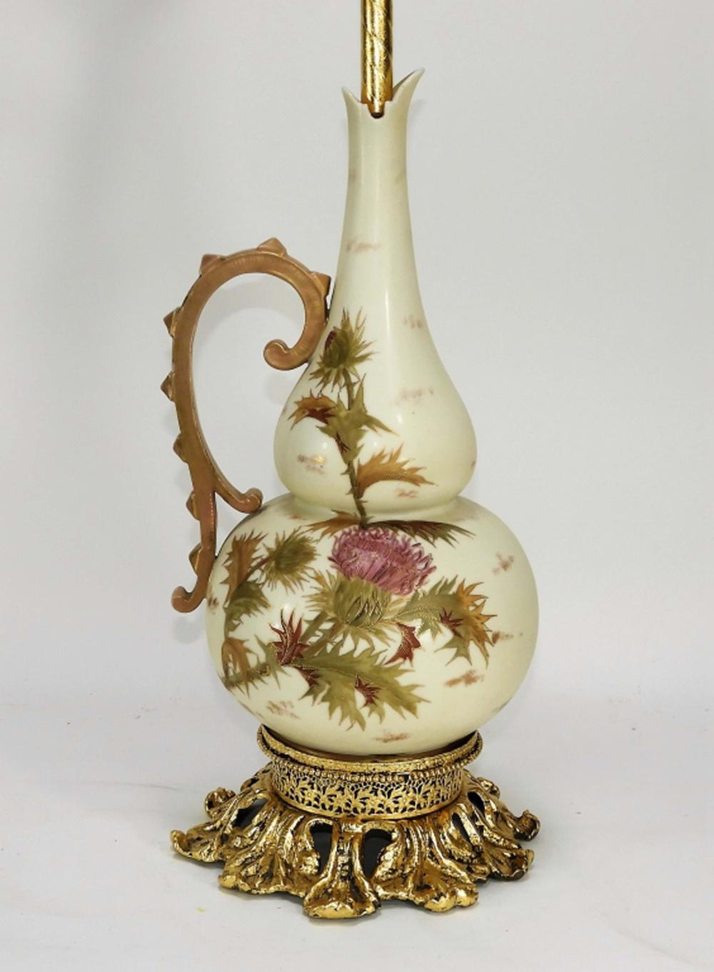 English Royal Worcester Aesthetic Pottery Lamp