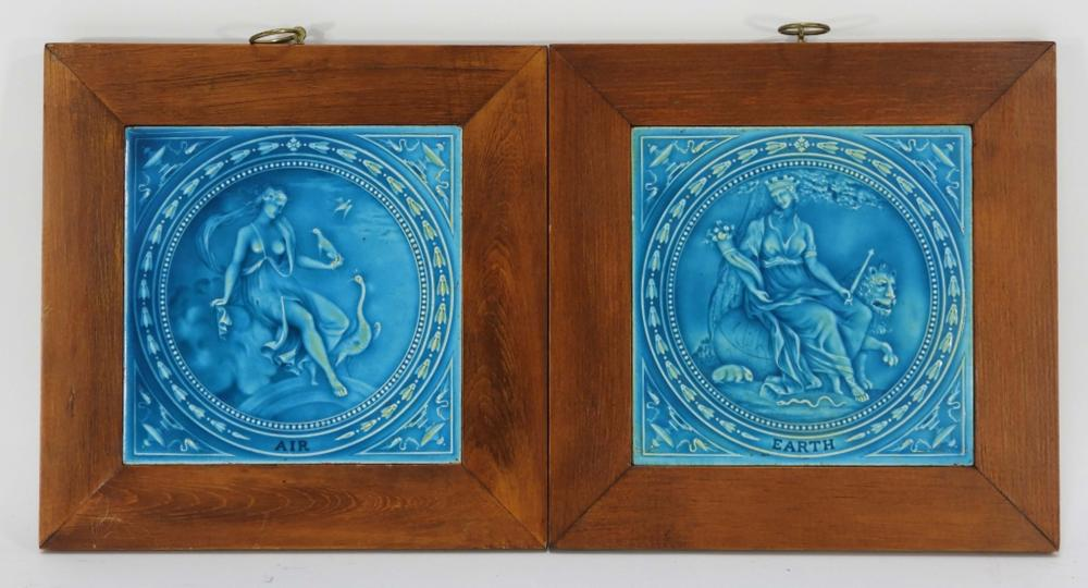 2PC Minton Hollins & Co Neoclassical Pottery Tiles