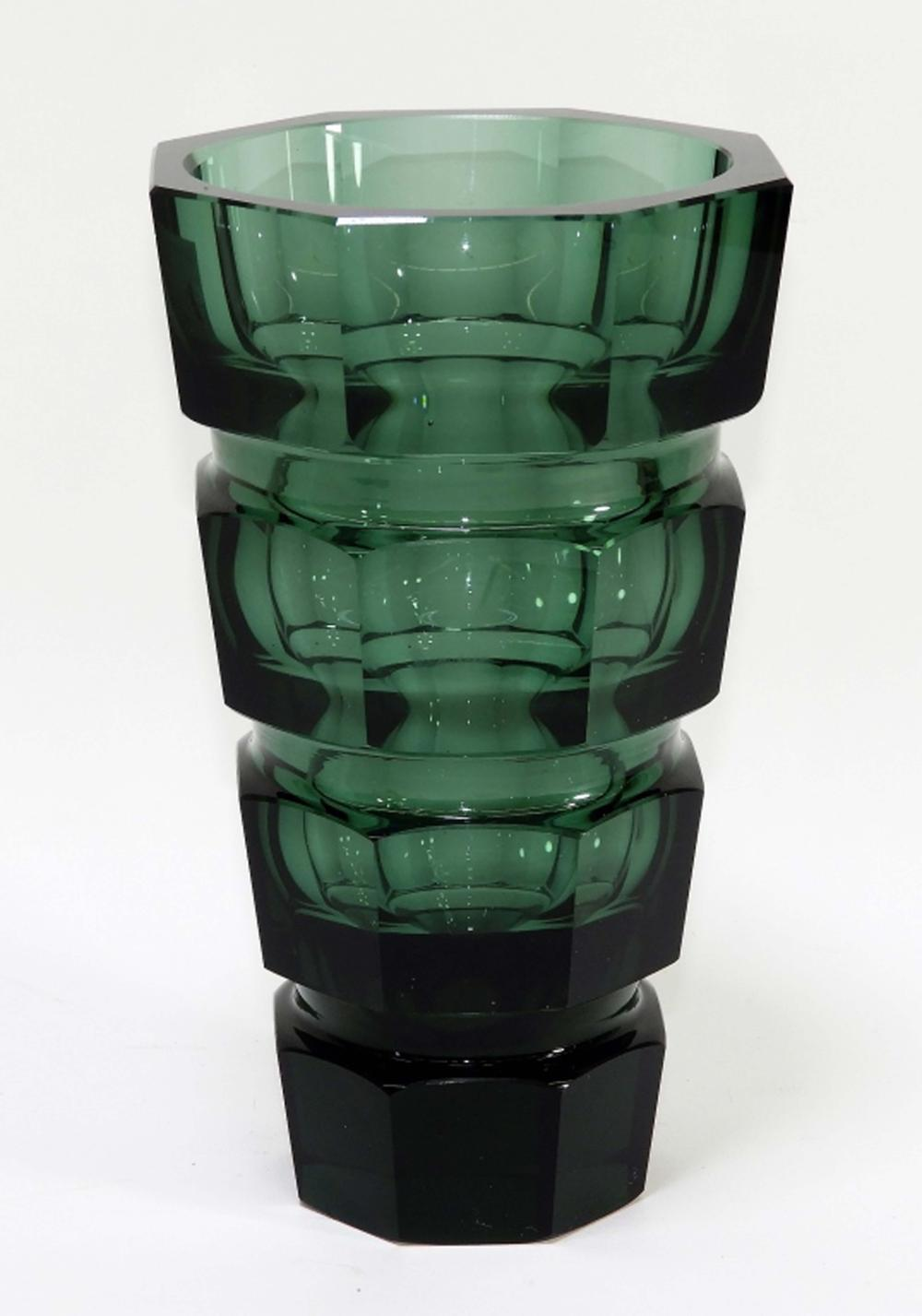 Czech Bohemian Moser Faceted Green Glass Vase