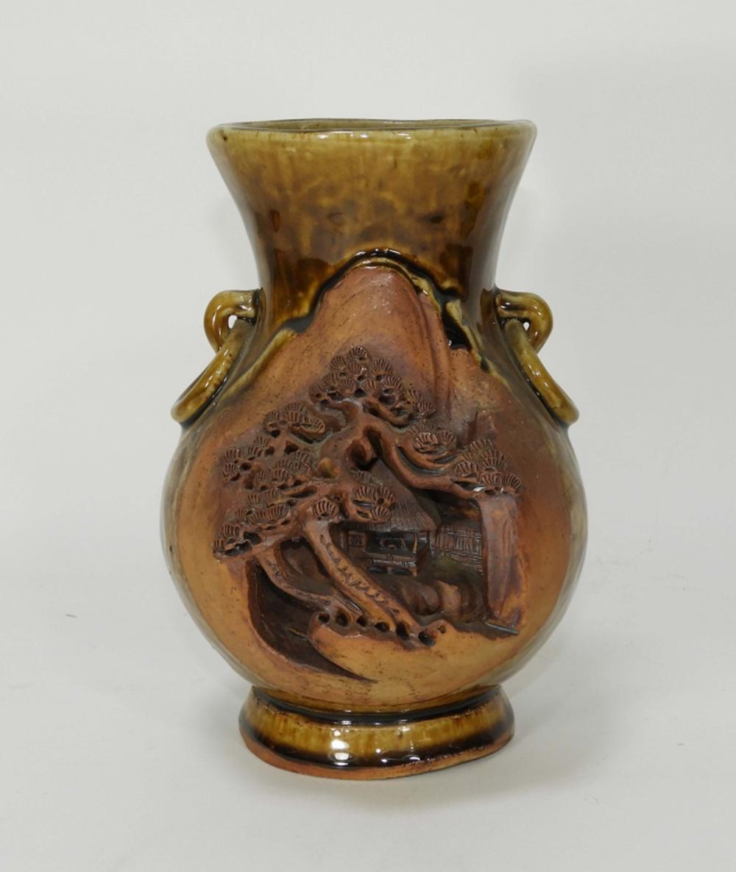 Japanese Sumida Gawa Earthenware Pottery Vase