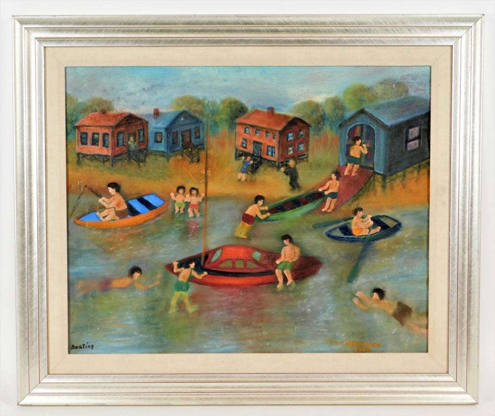 William Roseman Outsider Folk Art Beach Painting