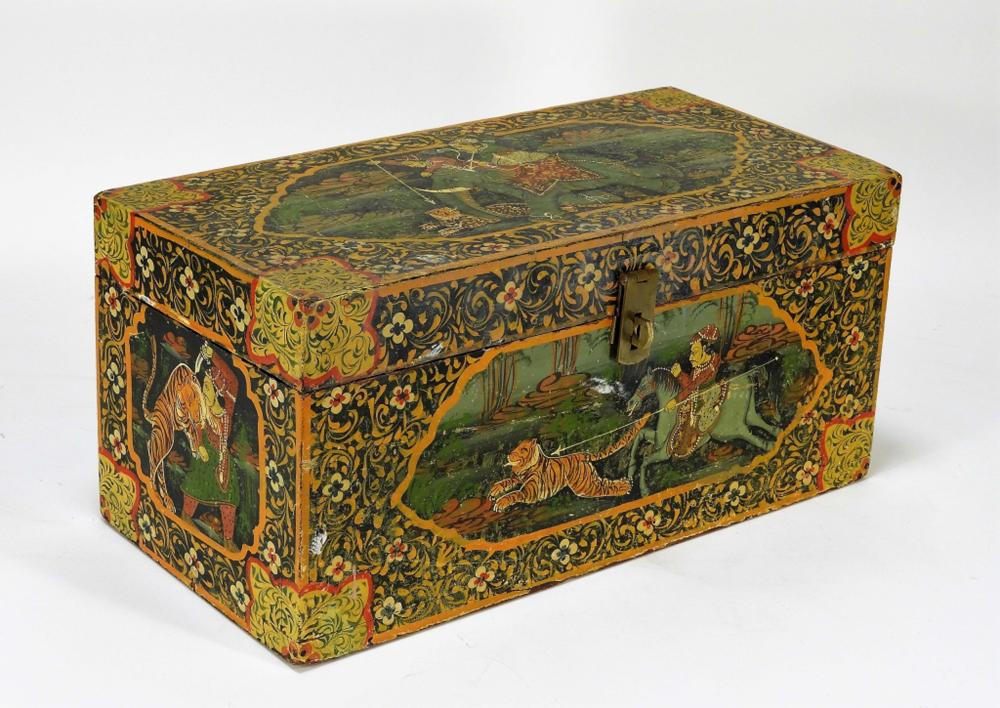 Indian Polychrome Decorated Wood Document Box