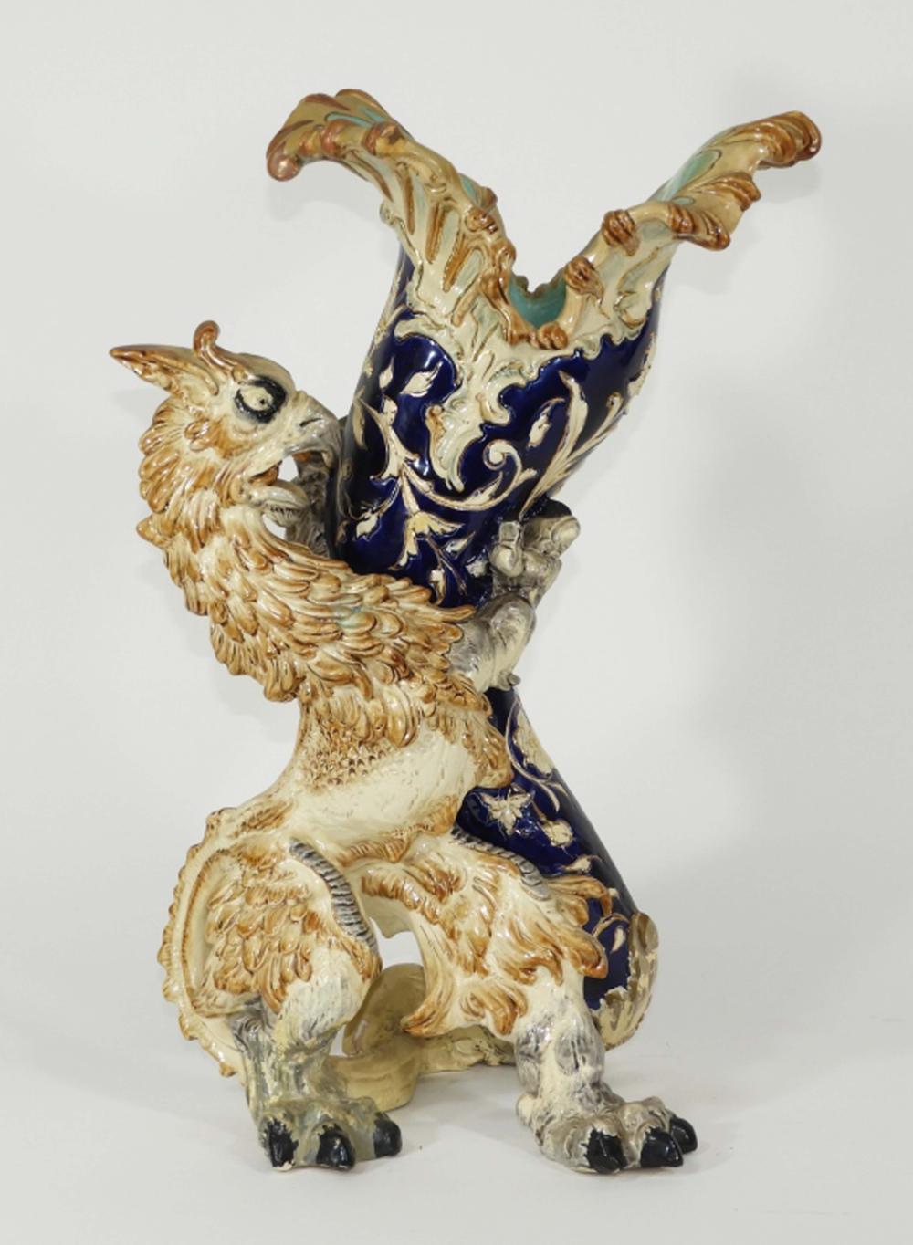 19C English Majolica Figural Griffin Beast Vase