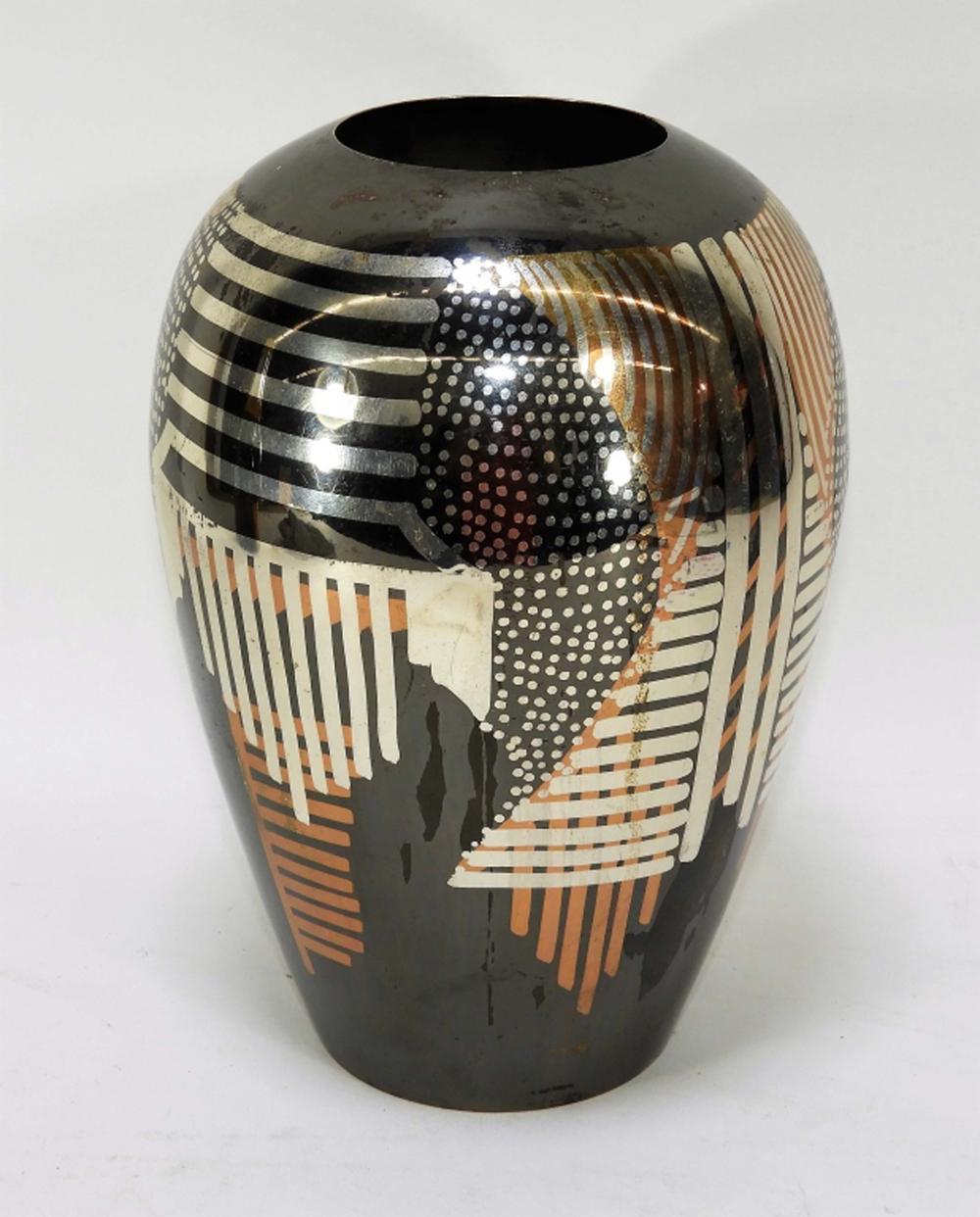 Rosenthal-Netter Modernist Patinated Metal Vase