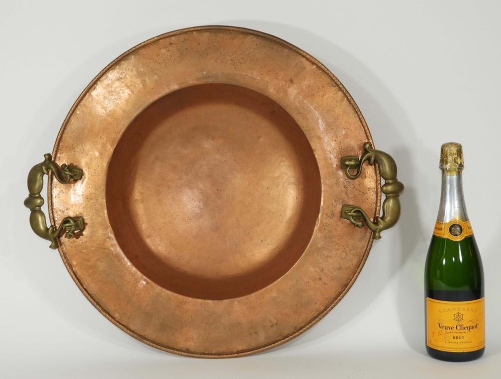 20C. European Hammered Copper Handled Bowl