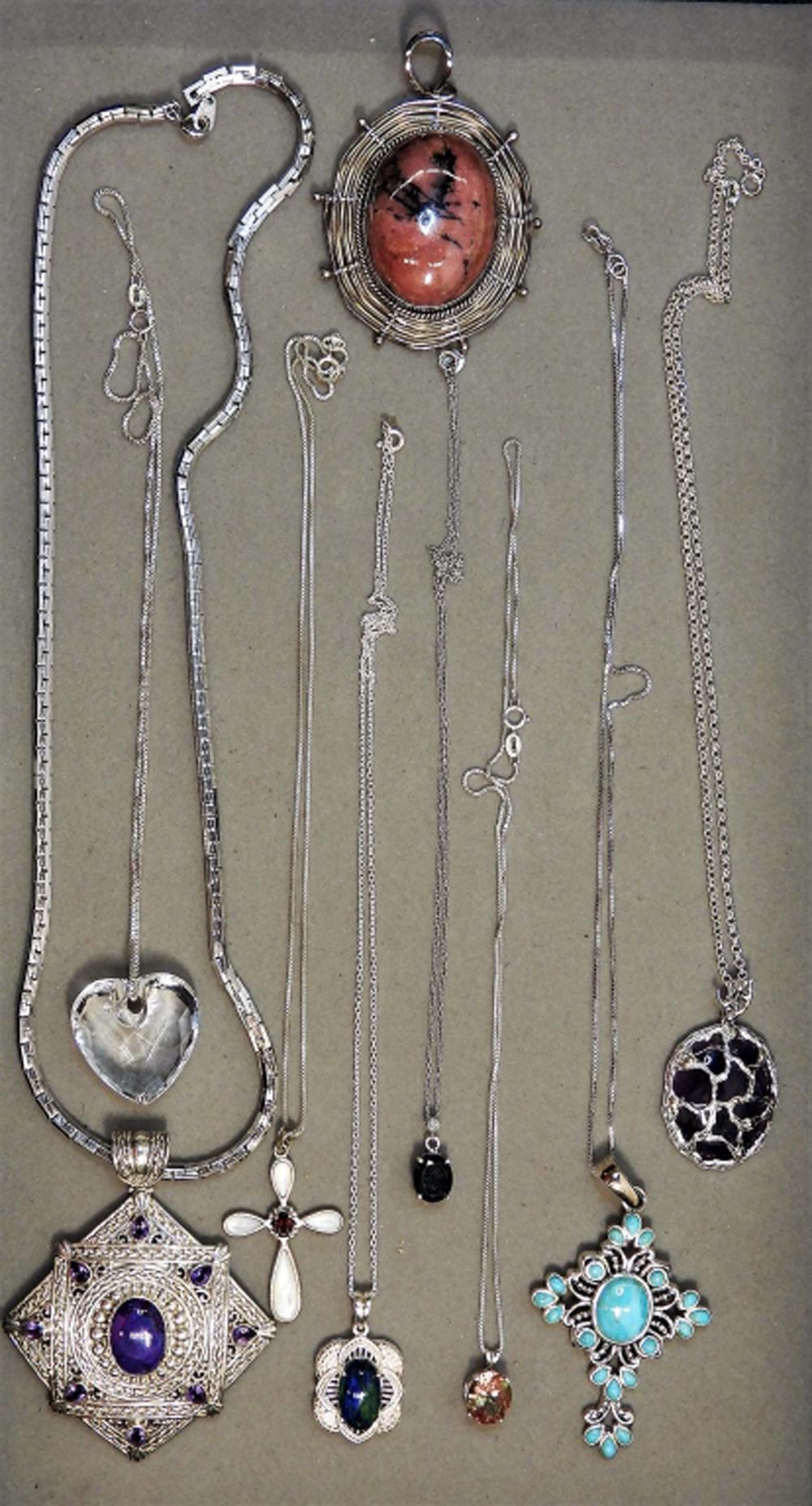 9PC Sterling Silver Semi & Precious Stone Jewelry