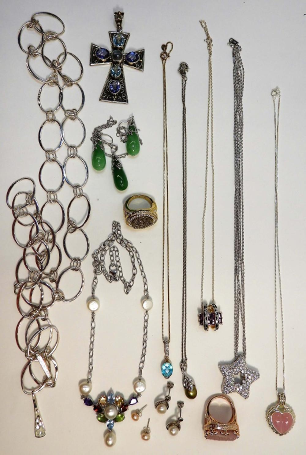 14PC Sterling Silver Semi & Precious Stone Jewelry