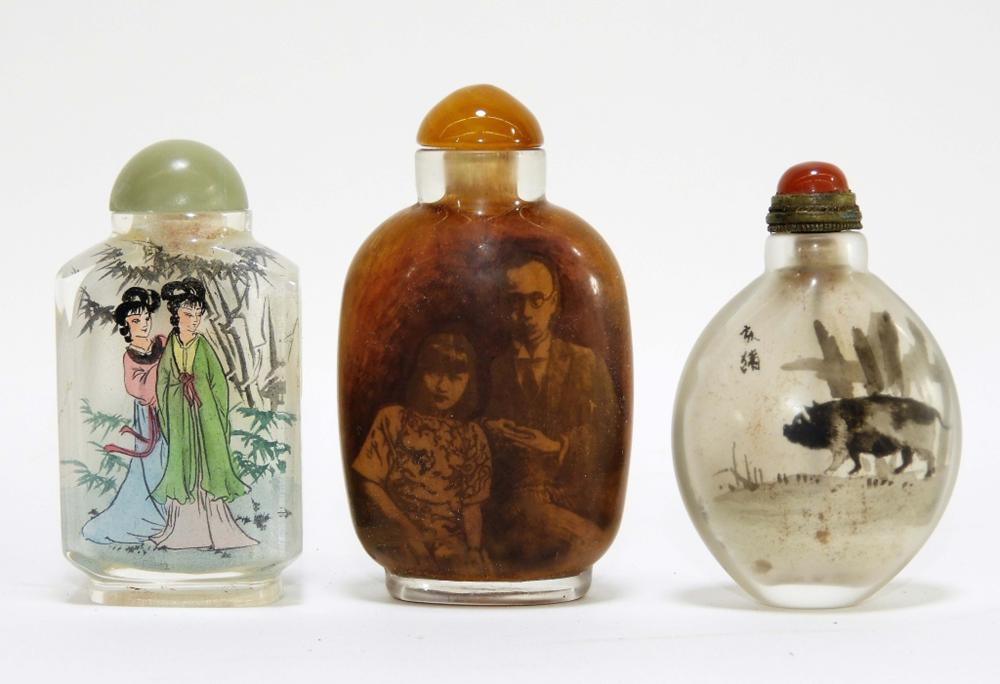 3PC Vintage Chinese Reverse Painted Snuff Bottles