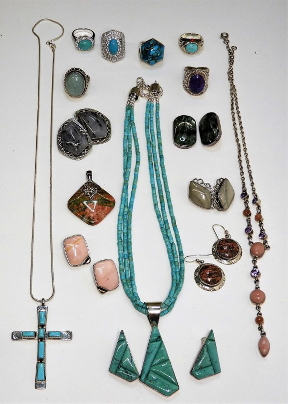 16PC Sterling Silver Turquoise Southwest Jewelry