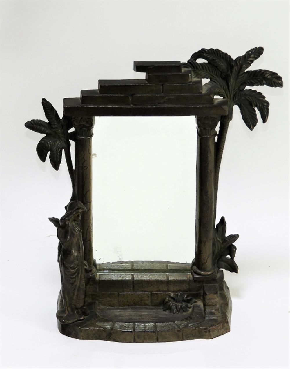 American Art Nouveau Cast Iron Orientalist Mirror