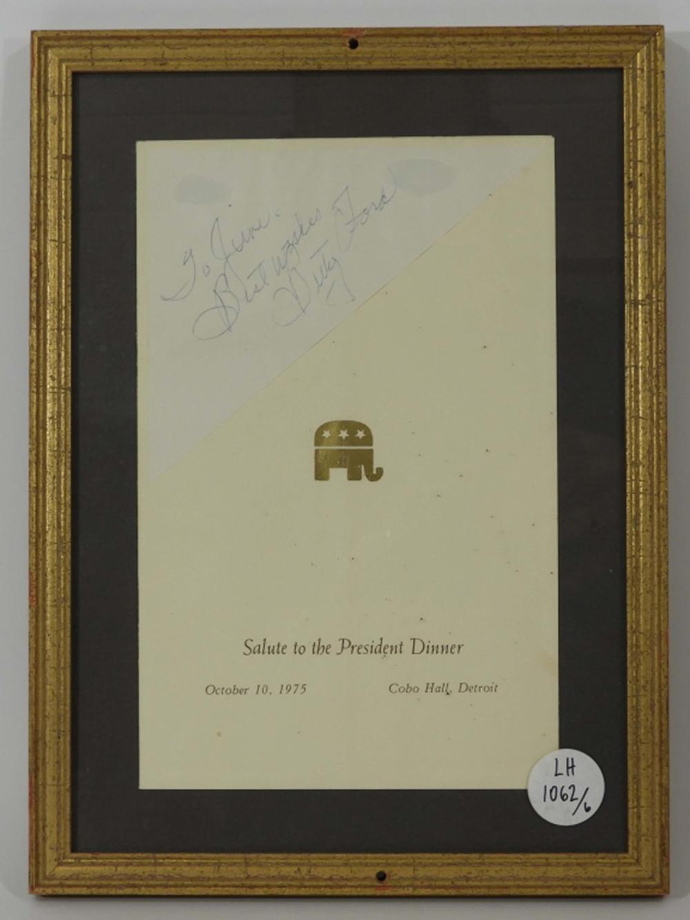 Betty Ford Salute to the President Signed Menu