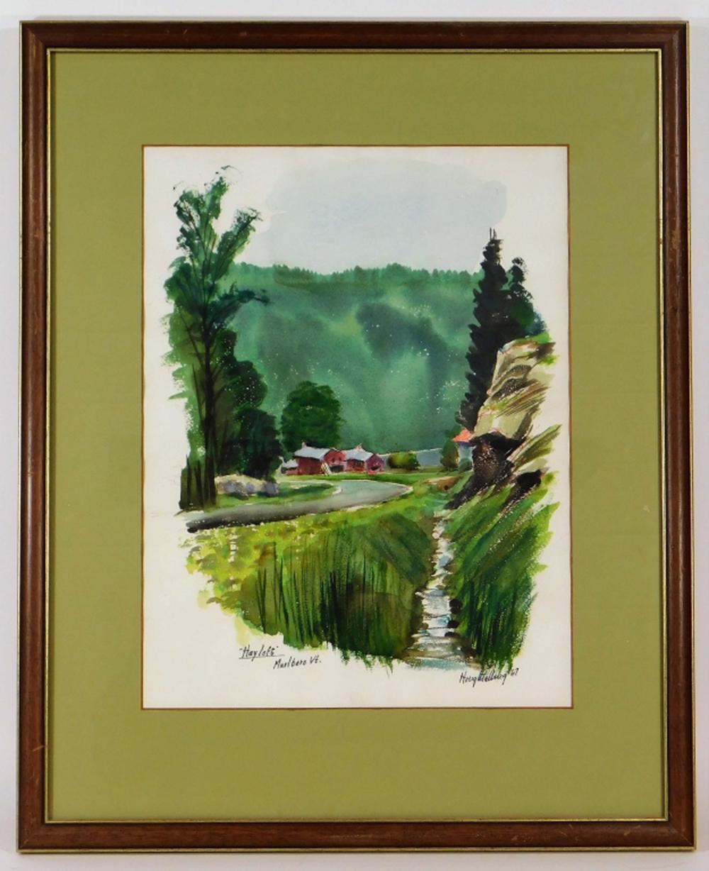Ayres Houghtelling Marlboro VT Farm WC Painting