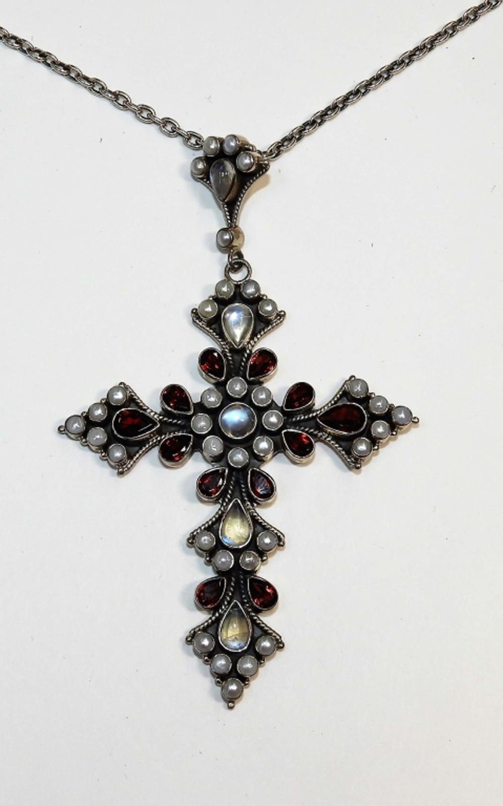 Nicky Butler Sterling Silver Garnet Crucifix Cross