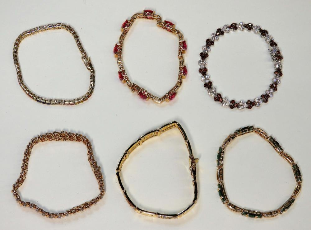 6PC Sterling Silver Precious Stone Bracelets