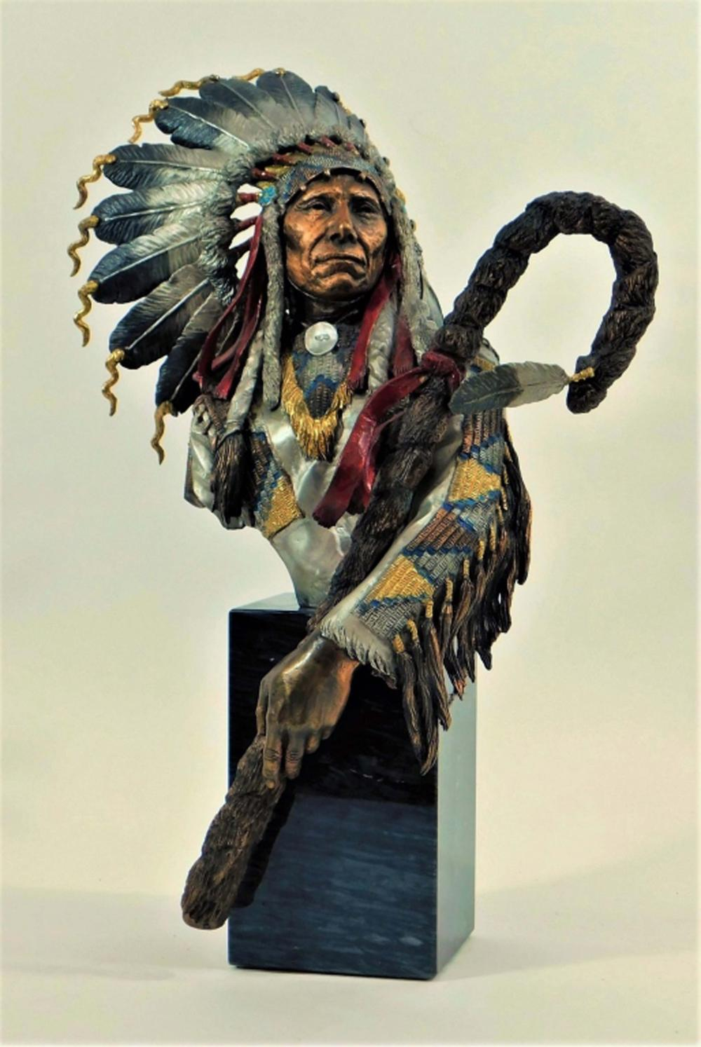 Christopher Pardell Red Cloud Indian Bronze Bust