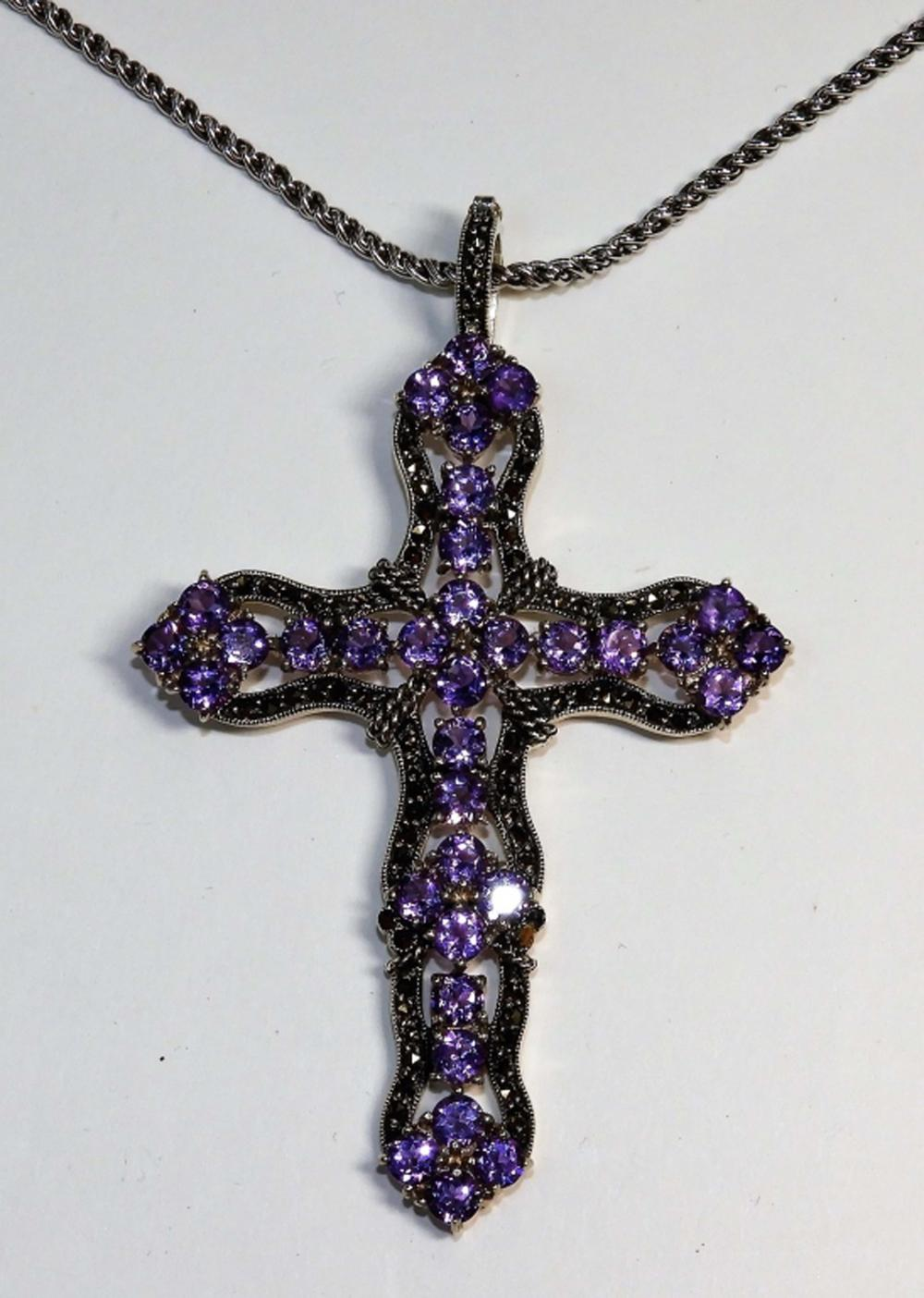 Large Sterling Silver & Amethyst Crucifix Cross