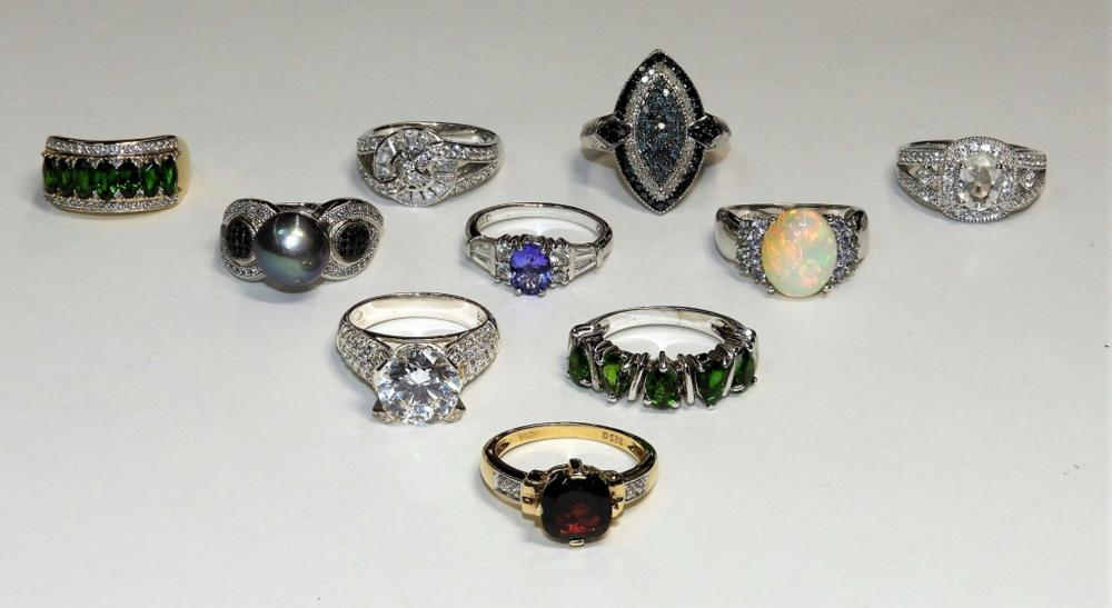 10PC Sterling Silver & Precious Stone Lady's Rings