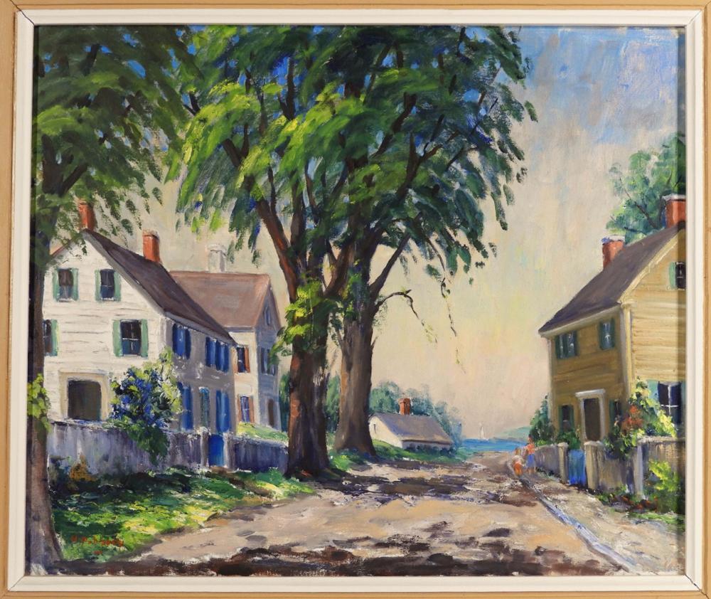 Helen Aubourg Cape Ann Rockport Mass O/C Painting
