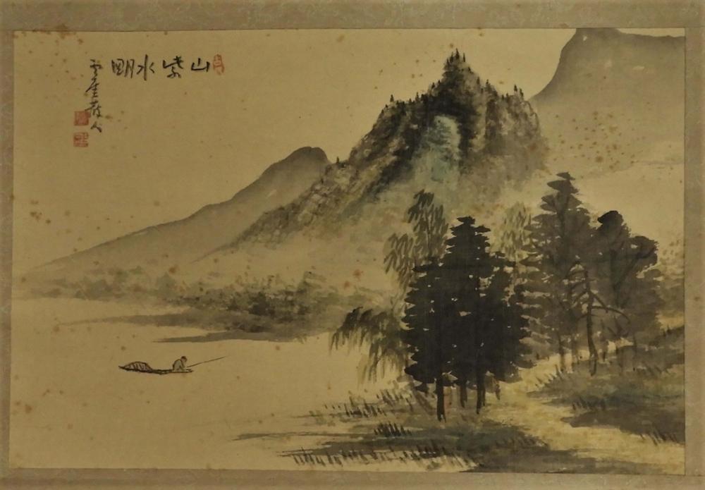 Japanese Scroll Mountain Lake Fisherman Painting